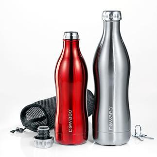 Thermos DoWaBo® Enfin une bouteille isotherme adaptée aux boissons gazeuses. Acier inox double paroi au design stylé.