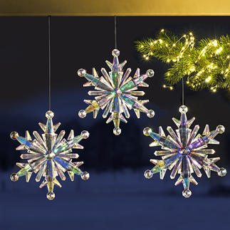 Cristaux de glace arc-en-ciel, lot de 3 En acrylique irisé. Une belle décoration aux superbes reflets de lumière.