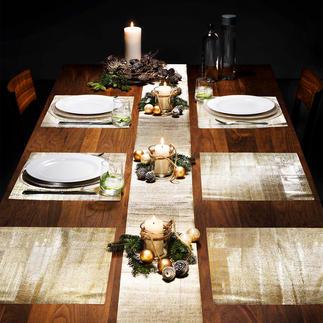 Film scintillant pour table, 9 pièces Protège votre table des rayures et des taches. Version or ou argent. Assorti à tous les services de table.