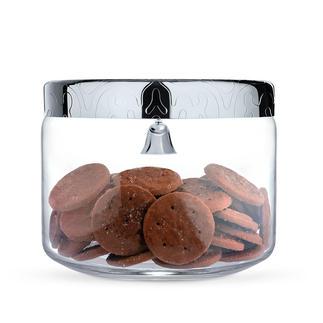 Boîte à biscuits Alessi Pot en verre avec couvercle en inox. Avec clochette d'alarme - une protection efficace contre les gourmands.