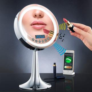 Miroir multimédia éclairé Avec enceinte bluetooth, radio, dispositif mains libres et lumière DEL pilotée par capteur.  Sans fil gênant.