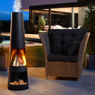 Poêle de terrasse Point feu stylé. Foyer agréable. Et point de rencontre apprécié sur votre terrasse.