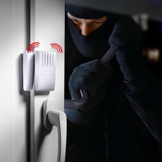 Alarme double de porte et de fenêtre Système d'alarme (120 dB) à piles, avec capteur de vibrations & contact aimanté. Montage en 2 minutes.