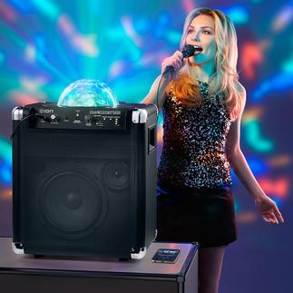 Sound & Light-System portable Bluetooth 7 heures de musique non-stop et une belle lampe disco. Sans prise secteur. Sans fil.