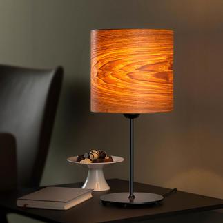 Lampe à poser design, bois naturel Superbe lampe à poser ornée de précieux placage de grand frêne.