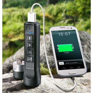 Outil électronique 3-en-1 A la fois haut-parleur, lampe de poche et batterie externe powerbank : le tout dans un seul outil.