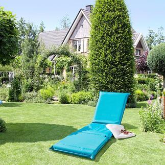 Bain de soleil 3-en-1 Confortablement rembourré, avec dossier réglable 5 positions et housse résistante en textile.