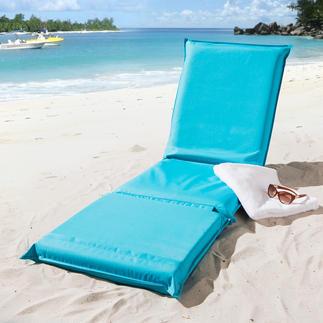 Tapis de plage 3-en-1 Confortablement rembourré, avec dossier réglable 5 positions et housse résistante en textile.