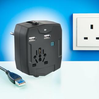 Adaptateur de voyage mondial avec powerbank À la fois powerbank et station de charge USB pour vos appareils nomades. Avec fiches pour plus de 150 pays.