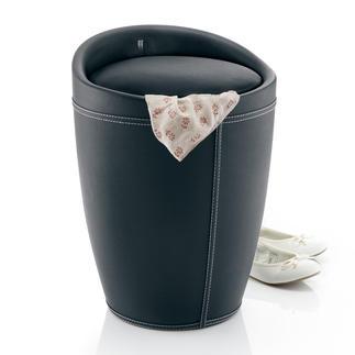 Tabouret à espace de rangement Style élégant. Confort d'assise. Et casier de rangement dissimulé de 20 litres. Avec poche à linge amovible.