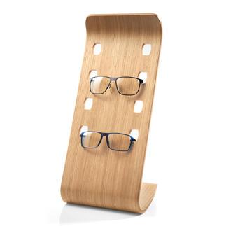 Etagère à lunettes Accessoire luxueux en placage bois courbé à la teinte chêne actuelle permet de présenter vos 4 modèles favoris.