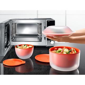 Vaisselle micro-ondes Cool Touch Beaucoup plus sûre : la vaisselle micro-ondes à double paroi. La paroi extérieure reste froide.