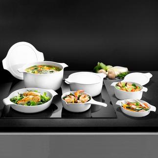 Vaisselle de cuisson et de service inducTherm® Nouveauté mondiale : la première porcelaine compatible induction. Qualité professionnelle par Eschenbach.