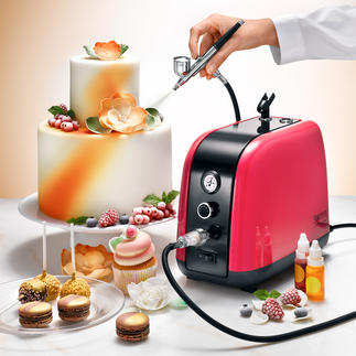 Lot compresseur Airbrush, 7 pièces Des gâteaux qui forcent l'admiration, avec la technique des professionnels.