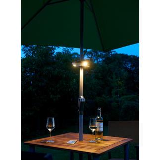 Eclairage Bluetooth pour parasol San fil : illuminez votre parasol et diffusez votre musique favorite.
