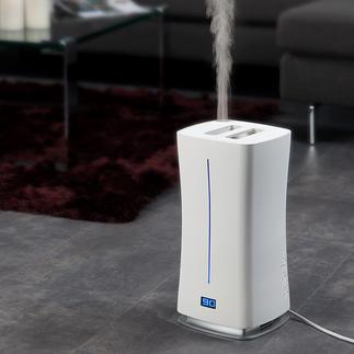 Humidificateur design Warm & Cool Avec capteur d'humidité externe et système de nébulisation innovant à air chaud. Pas de germes.