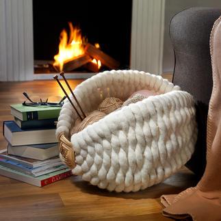 Panier en feutre de laine de Galicie Précieux travail artisanal de Galicie : un petit nid douillet pour vos foulards, plaid, revues ...