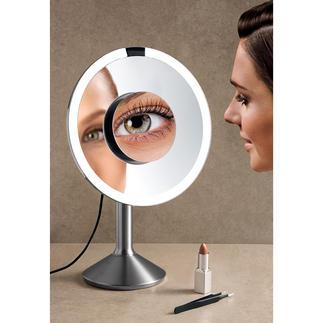Miroir à capteur, lumière du jour Elégant design en acier inox, avec miroir supplémentaire aimanté.