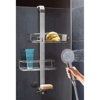 Etagère de douche variable Un design astucieux qui s'adapte à vos ustensiles de douche.