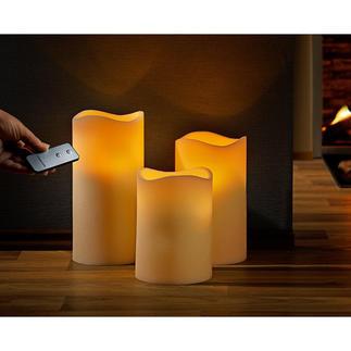 Bougies LED en cire véritable, lot de 3, avec télécommande Arrangement décoratif de 3 bougies à la flamme vacillante réaliste.