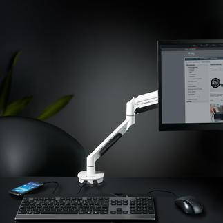 Bras articulé pour écran Bras articulé avec vérin à gaz : réglable en hauteur, sans palier. Pivotant sur 360 °.