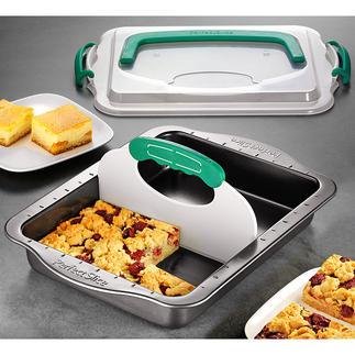 Moule à gâteau tout en un Le moule à pâtisserie avec système de tranchage breveté et couvercle à poignée.