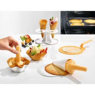 Set de cuisson et de mise en forme pour cornets et coupelles gaufrées, 10 pièces Cornets et coupelles à glace faits maison. Plus besoin de gaufrier.