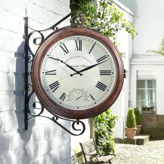 Horloge de jardin et de terrasse Avec cadran de chaque côté et thermomètre.