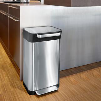 Poubelle avec système de compression Cette astucieuse poubelle contient 3 fois plus de déchets qu'une autre de même format.