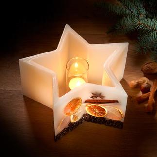 Photophore étoile Appréciez la douce lumière de bougies de qualité ... qui ne brûlent jamais.