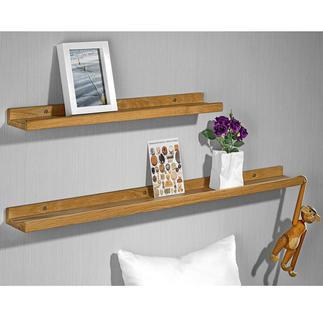Tablettes photos en bois véritable, lot de 2 pièces (60 cm + 90 cm) Objet déco tendance : composez votre propre galerie de photographies, d'objets, de souvenirs ...