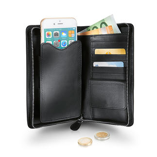 Étui-portefeuille Braun Büffel 3 en 1 : portefeuille, porte-monnaie et étui pour téléphone portable.
