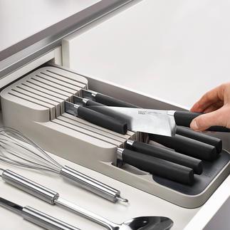 Organiseur de couteaux compact Malin et pratique : le range-couteaux deux niveaux pour le tiroir.