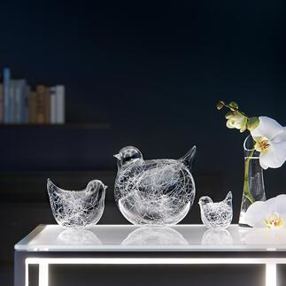 Oiseaux « fils de verre », lot de 3 pièces Accueillez ces messagers du printemps : famille d'oiseaux en verre soufflé à la bouche. Chaque modèle est unique !