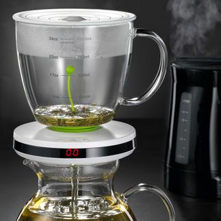 Machine à thé avec système automatique d'infusion Un système automatique permet d'adapter le temps d'infusion à la variété de thé.