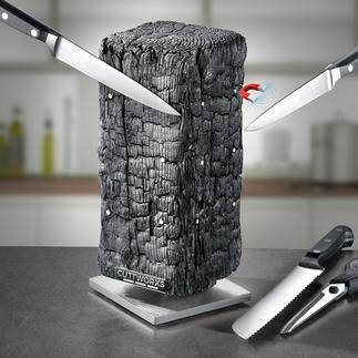Bloc à couteau aimanté Pyrolith Une sculpture moderne ? Un bloc à couteaux design ? Les deux !