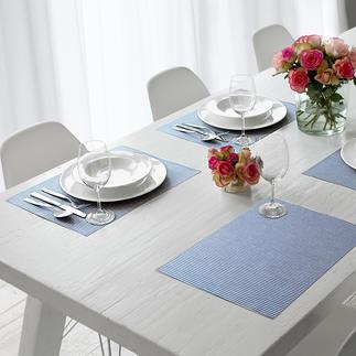 Sets ou Chemin de table en coton effet lotus Doux, textiles et néanmoins aisément essuyables.