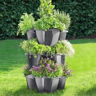 Porte-plantes à 3 étages Opulente décoration florale sur un tout petit espace.