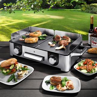 Gril de table design LONO WMF Luxueux design Cromargan® de 2 400 W et 2 zones de cuisson séparées. Pour jusqu'à 8 personnes.