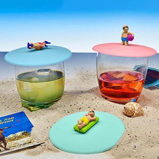 Lot de 3 couvre-verres Une amusante troupe de baigneurs protège vos boissons des insectes.