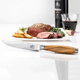 Couteau à steak damassé, lot de 4 pièces Tranchant, bonne tenue à la coupe, précision. La qualité made in Germany.