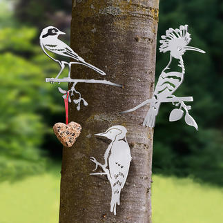 Contour oiseaux Motifs réalistes d'oiseaux en acier. Véritable accroche-regard dans votre jardin.