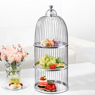 Présentoir cage à oiseaux Servez vos délicieuses préparations avec élégance sur ce présentoir à trois niveaux.