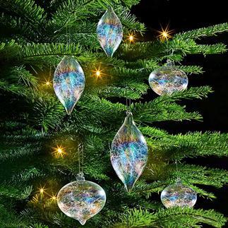 Boule de Noël à filaments irisés, lot de 6 pièces Boule de Noël garnie de filaments de verre aux couleurs chatoyantes de l'arc-en-ciel.