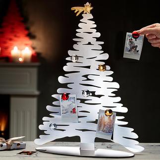 Sapin de Noël design Présentoir original en acier inoxydable, avec sept décorations de Noël aimantées.