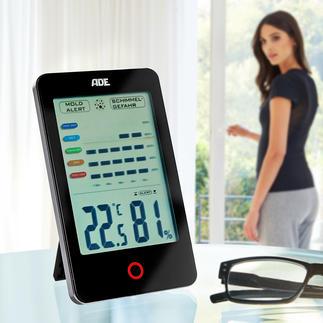 Système de surveillance climatique ADE Affiche et analyse l'humidité de l'air dans la pièce et vous prévient en cas de risque de moisissures.