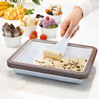Plaque de réfrigération pour rouleaux glacés La tendance culinaire du moment : la crème glacée en rouleaux, fait maison en toute simplicité.