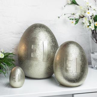 Œuf métallique Une décoration de Pâques originale : des œufs aux reflets dorés et au bel aspect pierre.