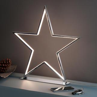 Etoile de lumière Un objet décoratif cool et pas kitsch : l'étoile chromée avec contours LED lumineux.
