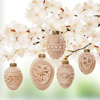 Œufs de Pâques ornementés, 5 pièces Moules en verre précieux des années 1920/30. De Marolin®/Thuringe.